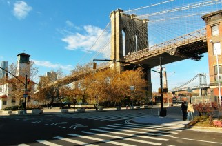 The view from below the Brooklyn Bridge near Grimaldi's Pizza.